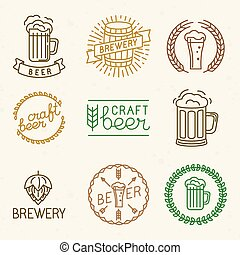 Vector craft beer and brewery logos and signs in trendy...