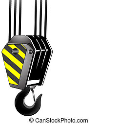 vector crane hook with room for text, isolated on white background; abstract art illustration