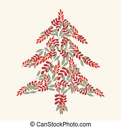 Cream christmas tree and leaves pattern
