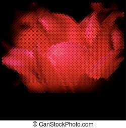 vector creative background with a red flower on a black backgrou