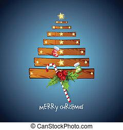 creative christmas tree with wood