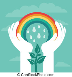 Vector creative concept with rainbow and human hands -...