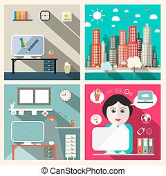 Vector Creative Education Room Flat Design Illustration with Secretary