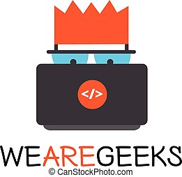 Vector creative geek logotype. Modern flat computer nerd logo.