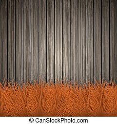 Vector creative grass on wooden background