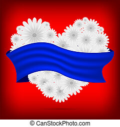 Vector creative heart of flowers with blue ribbon