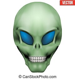 Vector Creative Humanoid alien skull. Illustration isolated...