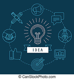 Vector creative idea concept in outline style - innovation...