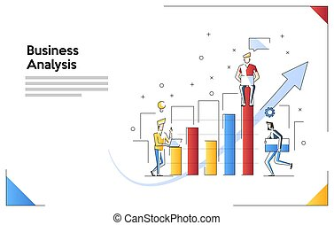 Vector creative illustration of business graphics, The company is engaged in the joint construction of column graphs, Business analysis, Cash profit