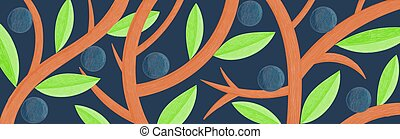Vector creative long background with abstract leaves, fruits, branches. Illustration is stylized as color pencil drawing
