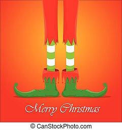 christmas cartoon elfs legs on red background