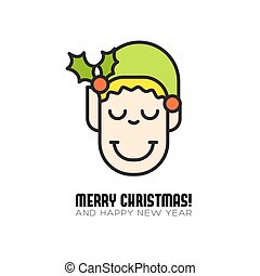 merry christmas greeting card with cartoon elf icon