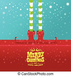 vector creative merry christmas greeting card with cartoon elfs legs, elf shoes and christmas stripped stocking on falling snow in sky. Vector merry christmas background