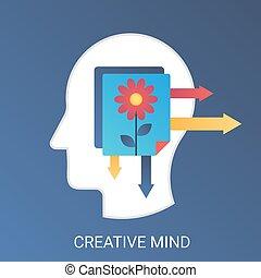 Vector Creative mind concept. Modern gradient flat style.