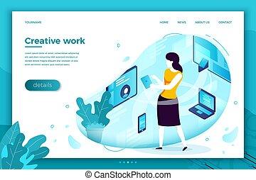Vector creative work process, freelance girl