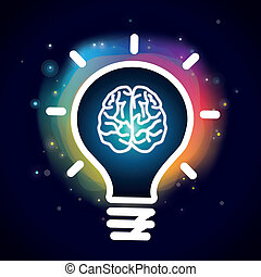 Vector creativity concept - brain icon and light bulb