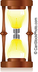 Creativity Hourglass with Light Bulb - Vector - Creativity...