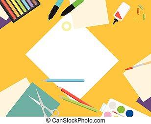 vector, creativo, mesa., papel, sketching., niños, corte, ...