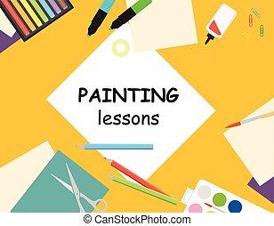 vector, creativo, mesa., papel, sketching., niños, lecciones...