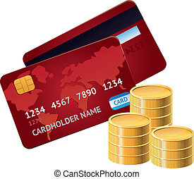 Vector credit card and golden coins - business and finance...