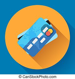 Vector Credit Card icon with long shadow. Flat design style.