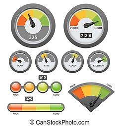 Vector credit score gauge icon set