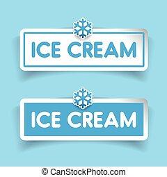 vector, crema, hielo, etiqueta