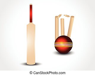 vector cricket bat & ball with stumps vector illustration