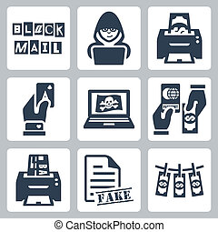 Vector criminal activity icons set: blackmail, hacking,...