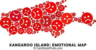 Vector Crisis Kangaroo Island Map Mosaic of Sad Smileys -...