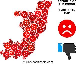 Vector Crisis Republic Of The Congo Map Mosaic of Sad Emojis...