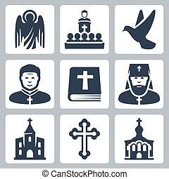 vector, cristiano, religión, iconos, conjunto