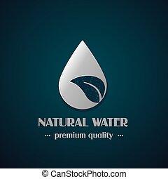 vector, cromo, gota, símbolo, con, hoja, en, fondo oscuro, natural, etiqueta, para, agua mineral