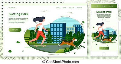 Vector cross platform illustration girl with dog