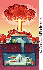 Vector cross section of nuclear shelter, explosion - Vector...