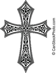 vector illustration of carved cross, Image suitable for printing on a T-shirt, as well as for all types of printing. This is a symbol or icon for christian faith