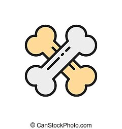 Vector crossed bones flat color icon. Isolated on white background