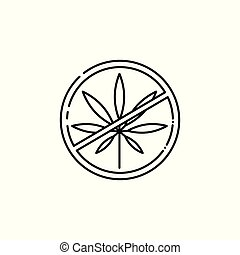 Vector crossed cannabis leaves in circle hemp icon