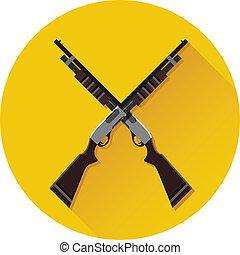 Vector Crossed Pump-Action Shotguns Icon