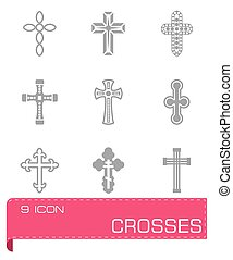 Vector Crosses icon set