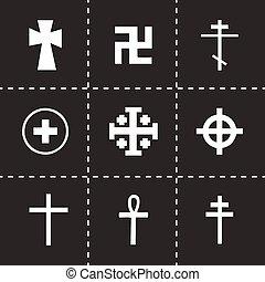 Vector crosses icons set