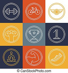 Vector crossfit and fitness logos and emblems - linear icons...