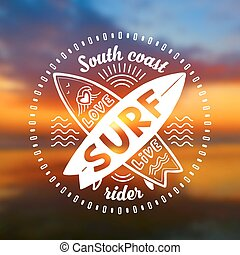 Vector crossing surfing boards stamp with hand drawn sign Love, Live, SURF on blurred sunset beach background