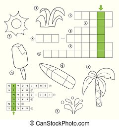Vector crossword for children. Theme Summer. Summer things. Coloring book