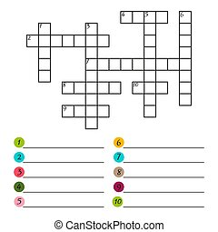 Vector crossword puzzle template isolated on white background