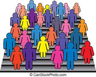 crowd of men and women - vector crowd of men and women on...