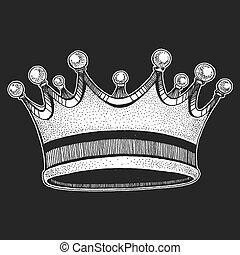 Vector crown. Cool emblem for rock festival. King, queen, princess. Grunge design illustration. Art for t-shirt, poster, banner
