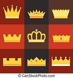 Vector crown, flat design set