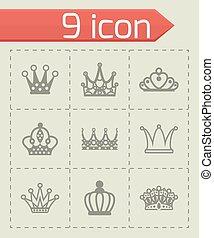 Vector Crown icon set