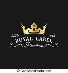 Vector crown logo template. Luxury corona monogram design. ...